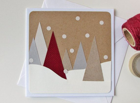 Christmas tree card - Christmas modern card - Xmas - seasonal card - Christmas greeting card - winter - snow