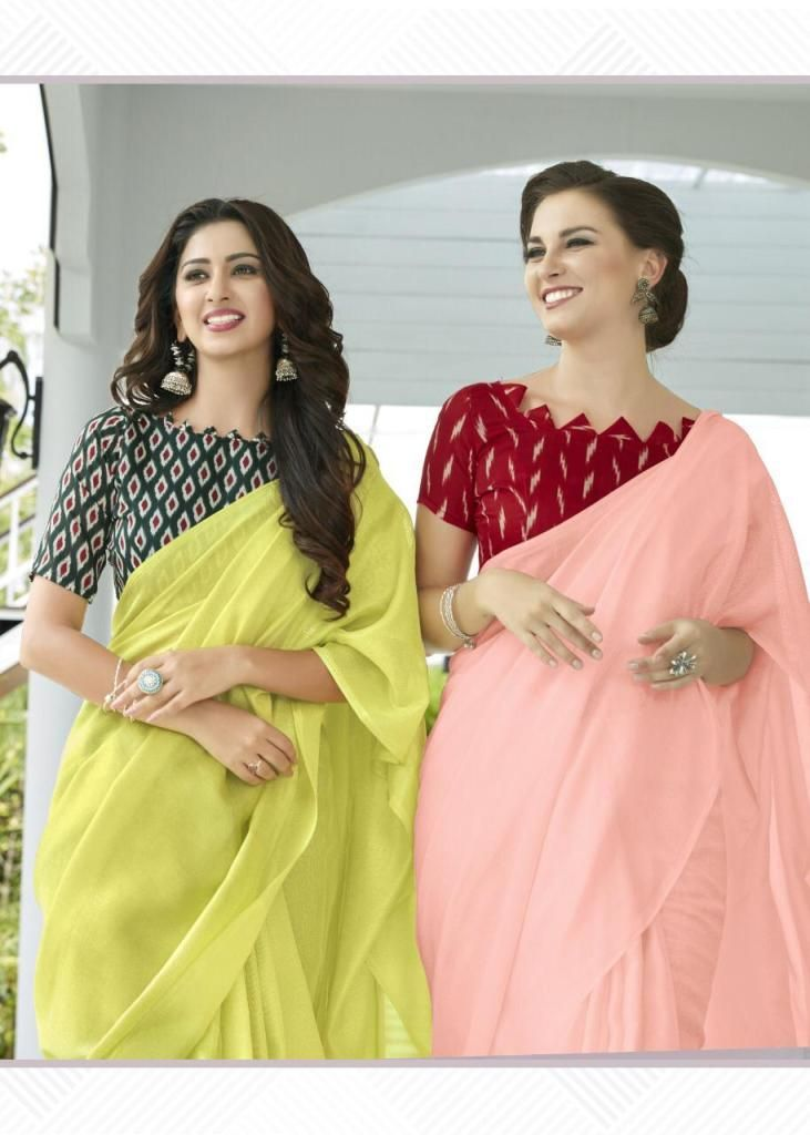 DESIGNER FANCY PLAIN LINEN JUTE SAREES WITH PRINTED BLOUSE AT WHOLESALE RATE