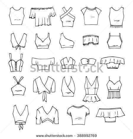 Hand drawn vector clothing set. 24 Model of the fashionable grain top ...