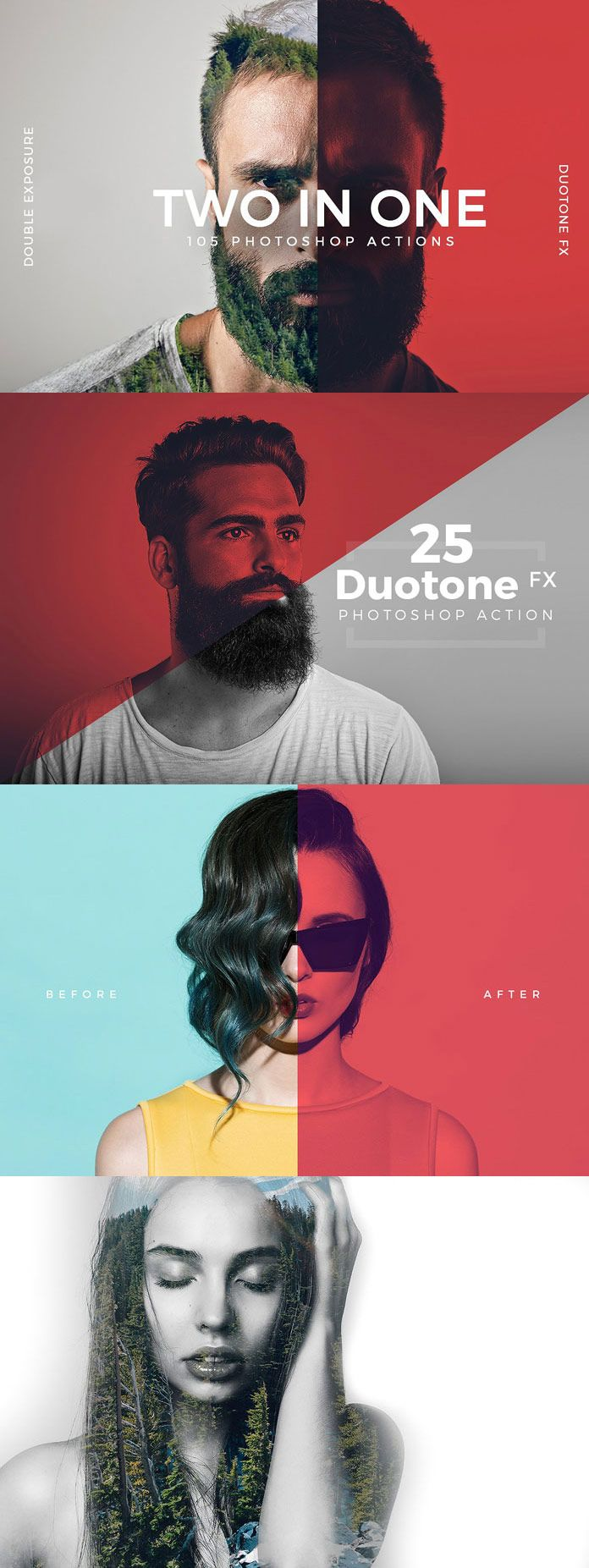 Double Exposure and Duotone Photoshop Actions