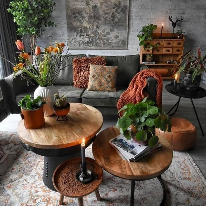 Room repetition Green nature inspired dark bohemian living room