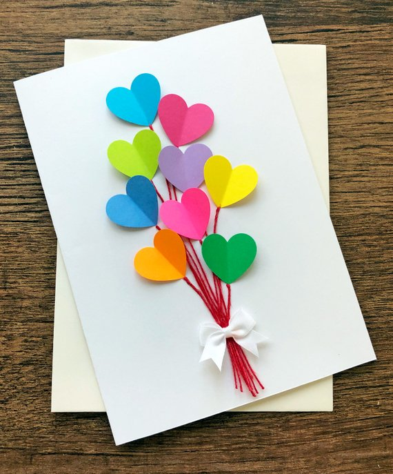Birthday Card / Hearts Wedding Cards / Rainbow Birthday / Blank Valentine Card / Note Card