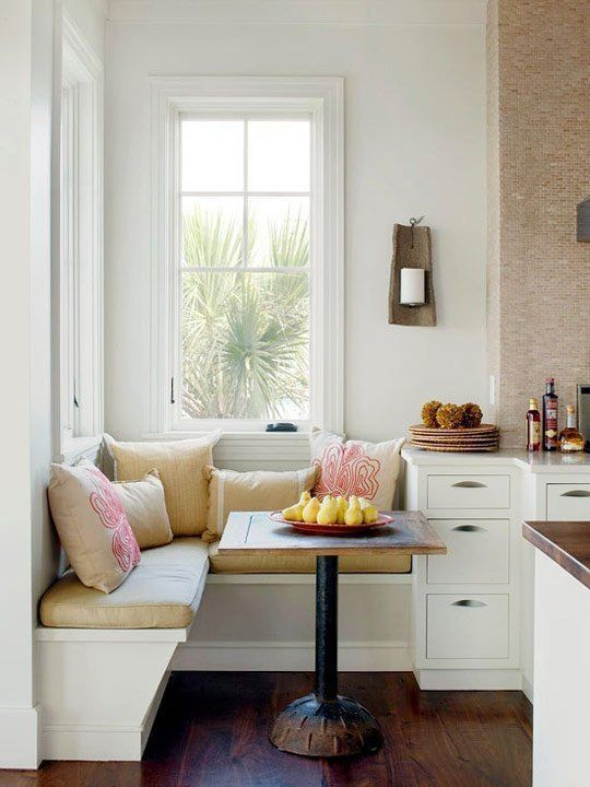 Chic sitting area kitchen for small kitchen in white