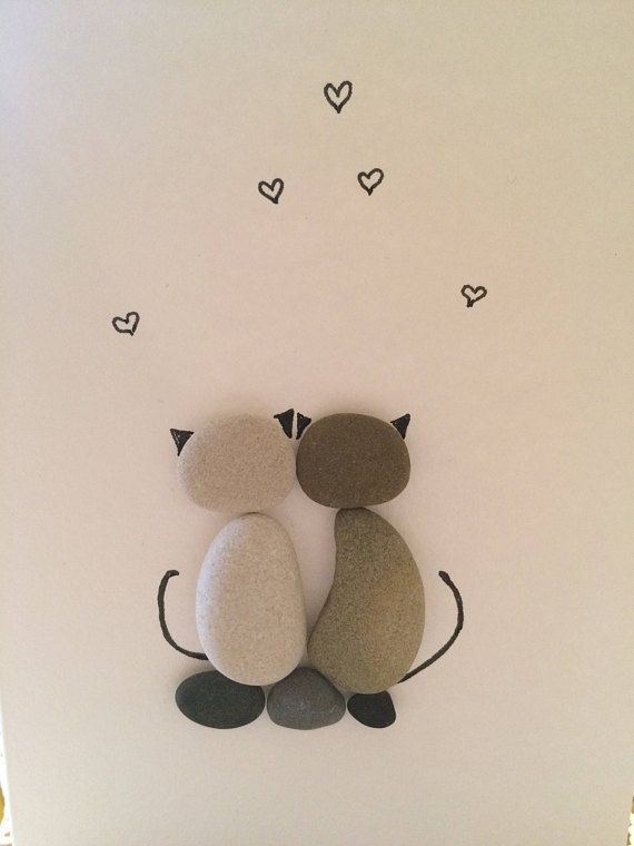 Greeting card with cats, cat lover gift idea, two cats, couple of cats, love cats, love ...