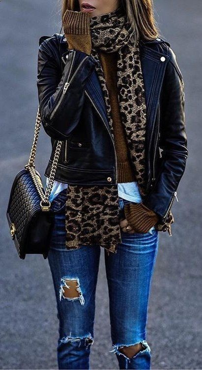 Fashion trends accesories - #fall #outfits · leopard scarf // leather jacket // Destroye… #accesories - accesorie