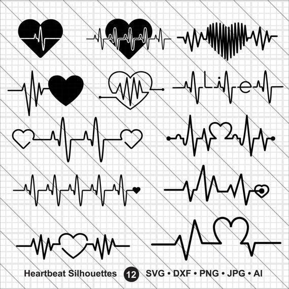 Heartbeat Silhouettes SVG, valentine bundle svg, cna svg,heartbeat svg Cut File,DXF,PNG Use with Silhoutte Studio & Cricut Instant Download