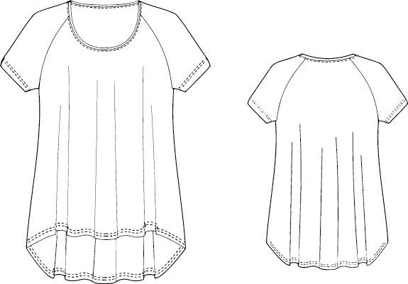 Free sewing pattern for a tunic with raglan sleeves in an A-line