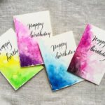 Happy Birthday card watercolor waves ~ Bright aquarelle card ~ Original watercolor card ~ Handmade card ~ Blank card ~ Hand paint lettering