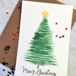 Set of 5 Merry Christmas cards handmade greeting card watercolor card Christmas tree traditional card ...