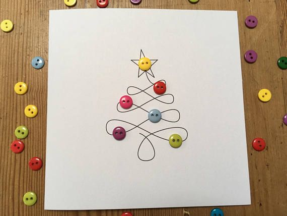 Christmas Card-Christmas Tree with Button Baubles-Paper Handmade Greeting Card-Christmas Card-Etsy UK