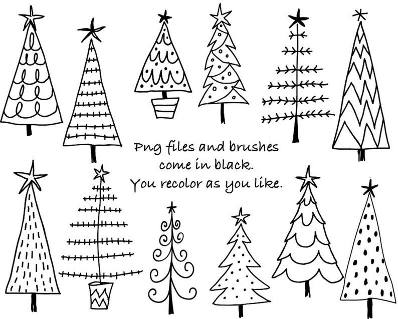 Doodle Christmas trees digital clipart, Photoshop CS4 + layered files, brushes and stamps. Instant download. Personal, limited commercial use.