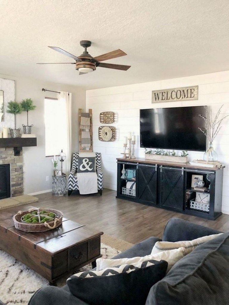 ✔72 best farmhouse living room tv stand design ideas 45 » Interior Design