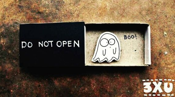 Humor Surprise Card / Cute Halloween Card / Don't Open Card / Ghost Card / Halloween Card / Funny / Anniversary Card / Matchbox / Boo! / OT093