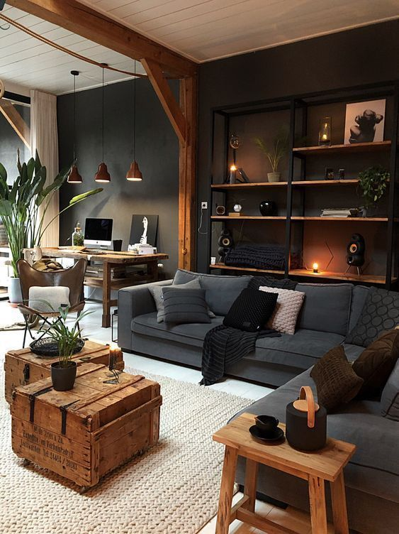 Masculine Industrial Living Room With A Wall-Mounted Shelving Unit - My Blog - My Blog