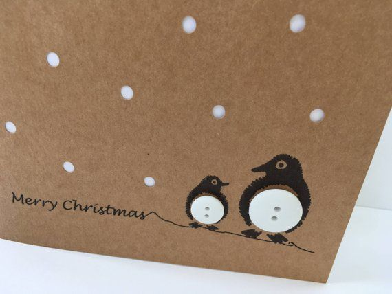 Penguin Christmas Card - Penguins with Paper Cut Snow Button - Handmade Greeting Card - Christmas Card - Set - Pack - Cute Card - Recycle