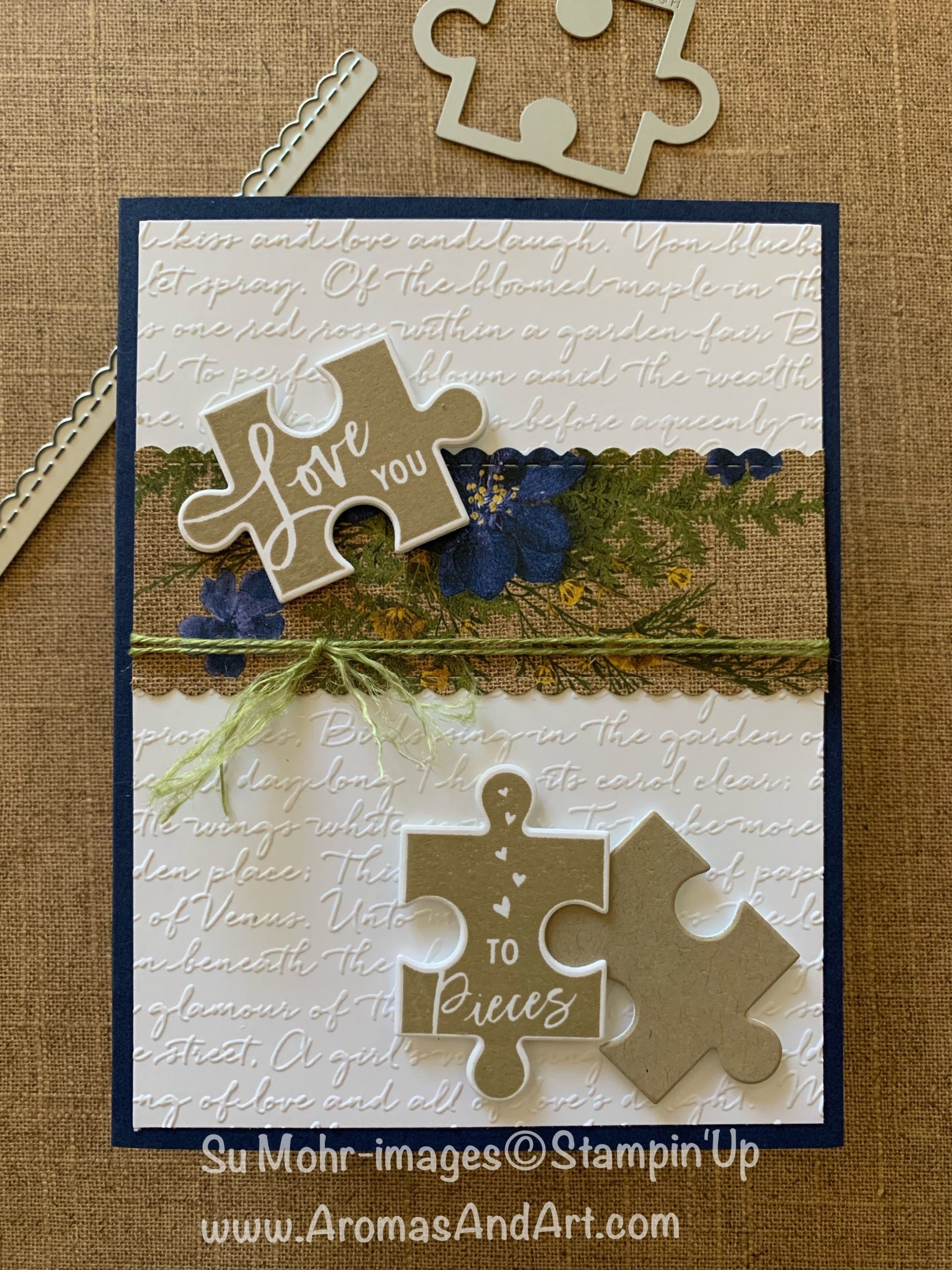 Puzzle Pieces & Script Embossing - Aromas and Art